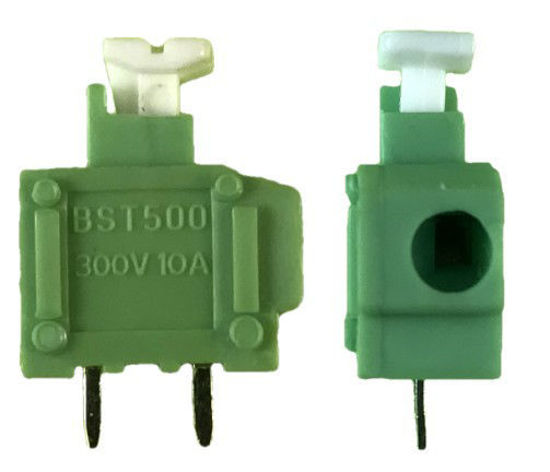 "Screwless Terminal Block -  .1"" 2.54mm - Single Pole - Green"