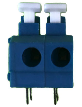 "Screwless Terminal Block -  .1"" 2.54mm - Dual Pole - Blue"